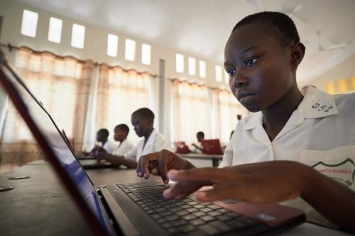 Students study in the computer lab of the Loreto Girls Secondary School outside Rumbek, South Sudan. The school is run by the Institute for the Blessed Virgin Mary--the Loreto Sisters--of Ireland.