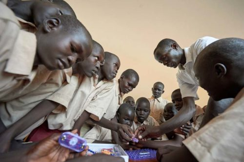 Students conduct a science experiment in the Loreto Primary School outside Rumbek, South Sudan. The school is run by the Institute for the Blessed Virgin Mary--the Loreto Sisters--of Ireland.